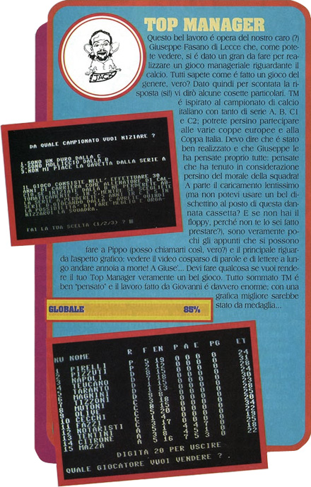 Recensione Top Manager Commodore 64