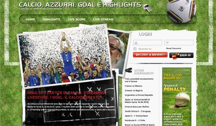 Anteprima sito Web sul Calcio Info Azzurra
